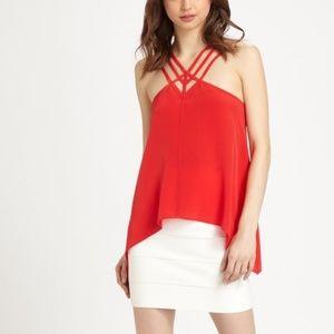 BCBG Maxazaria Womens 100% Silk Strappy Tank  Top
